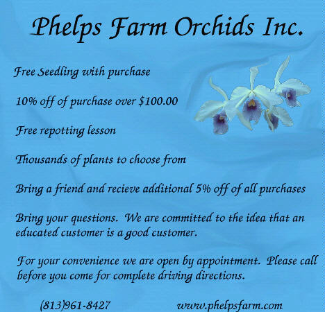 Coupon for Phelps Farm Orchids Inc.